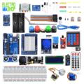 arduino uno, alimentation, plaque d'essie 820, boitier dht11, capteur de flamme, Rtc ds3232, ultrason hc-sr04, pir hc-sr05, joystick, rfid, lcd+i2c, clavie 4*4, shield module arduino uno, support *2 , relais 5v, telecomand + ir, module hygrometre, module sd card, charge circuit, potentionmetre, fils, bouton, resistance 10k, resistance 1k, resistance 220, ldr, relay, led RGB, led ultravioler, led infrarouge, l35, header m/m, buzzer, diode, moteur pas à pas, mini-servo,